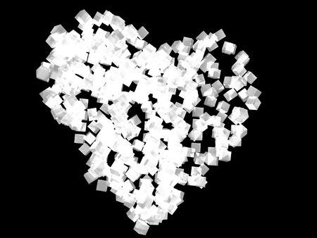 A unique valentineÂ's Day heart created using white cubic particles, isolated on a black background. Фото со стока