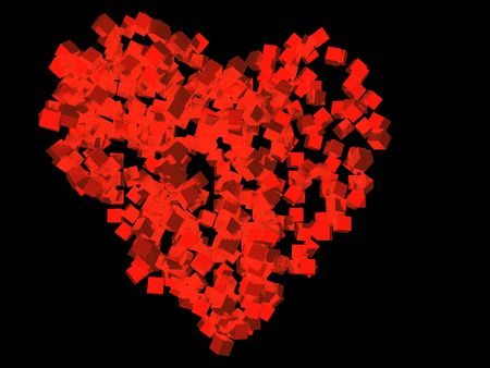 A unique valentineÂ's Day heart created using red cubic particles, isolated on a black background.