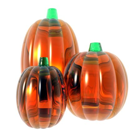 An illustration of three pumpkins made of glass on a white background. Imagens