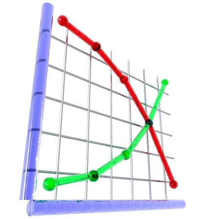 An illustration of supply and demand curves. Stock Photo