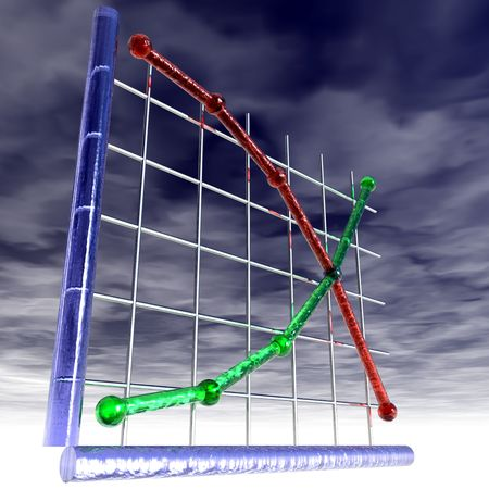 bleak: An illustration of supply and demand curves with storm clouds overhead. Stock Photo