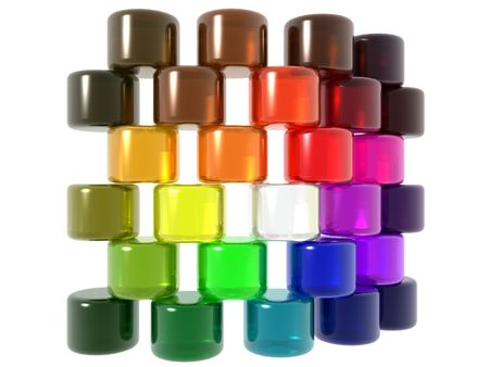 3D computer generate gel cylinders of various colors representing unity and team on a white background.