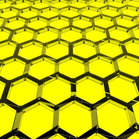 An illustration of a yellow honeycomb with a textured glass appearance. Reklamní fotografie