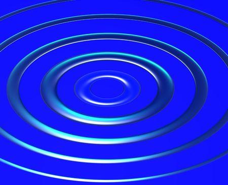 radiating: Onde azzurre che irradia da un punto centrale su sfondo blu.  Archivio Fotografico