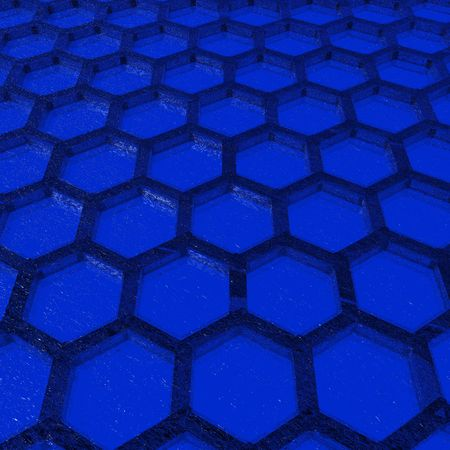 An illustration of a blue honeycomb with a textured glass appearance.