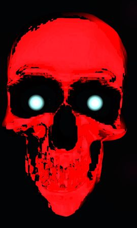 A red digital skull with glowing eyes.