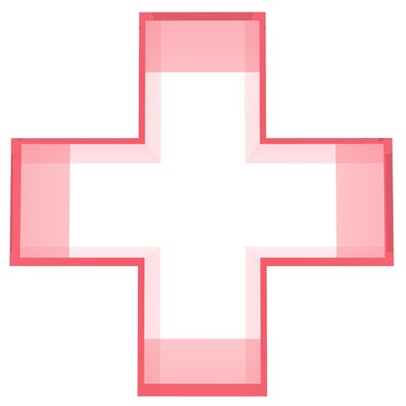 An illustration of a red cross on a white background. illustration