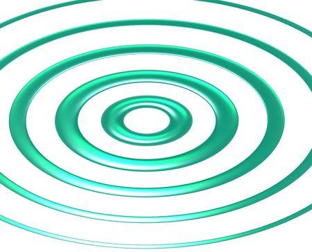radiating: Onde blu-verde che si irradiano da un punto centrale su sfondo blu.
