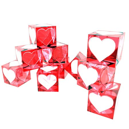 Translucent red boxes decorated for ValentinesÂ' Day.