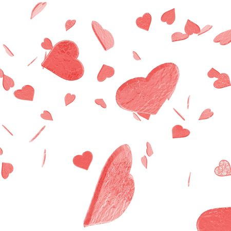 An illustration of St. Valentines confetti failing from the sky. Stock Photo