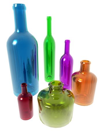 Conceptual image of multi colored bottles of different sizes representing diversity. Stock Photo
