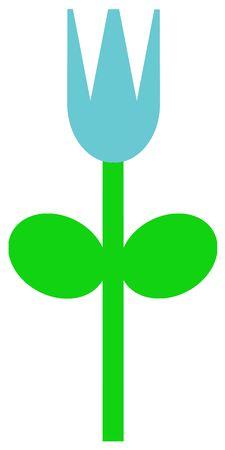 Een eenvoudig voorbeeld van een blauwe tulp in het voorjaar. Stockfoto