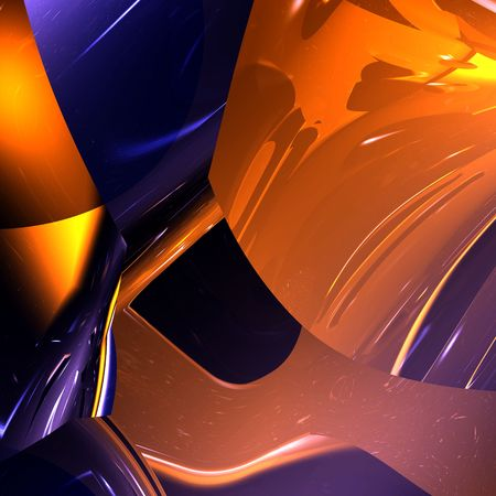 An illustration of a modern abstract background in a shiny orange and blue color scheme.