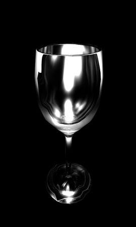 Een afbeelding van een lege wijn glas lijst door meerdere lichten op een zwarte achtergrond. Stockfoto