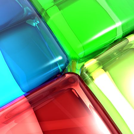 Conceptual image of multi colored soft edge cubes of different colors representing diversity. Stock Photo