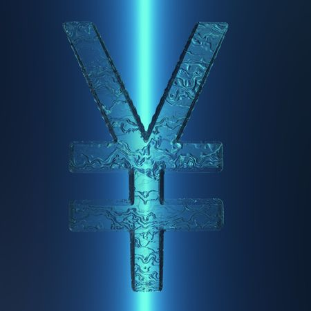 An illustration of an illuminated Japanese Yen sign with an icy appearance.