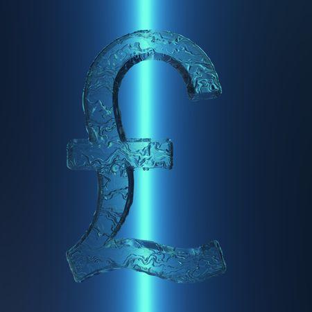 氷のような外観を持つ照らされた英国のポンド記号のイラスト。