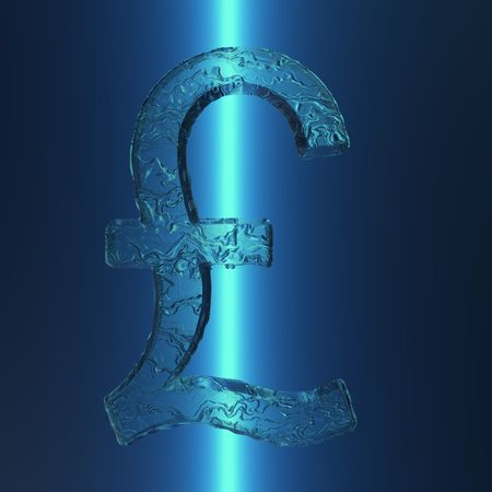 An illustration of an illuminated British Pound sign with an icy appearance.