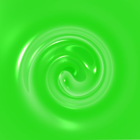 An illustration of green fluid swirling.