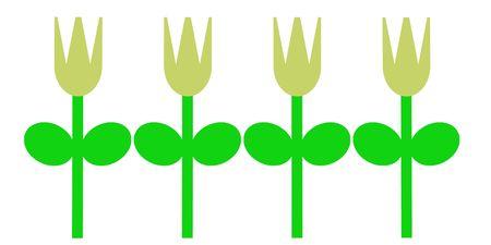 Een eenvoudig voorbeeld van gele tulpen in het voorjaar.