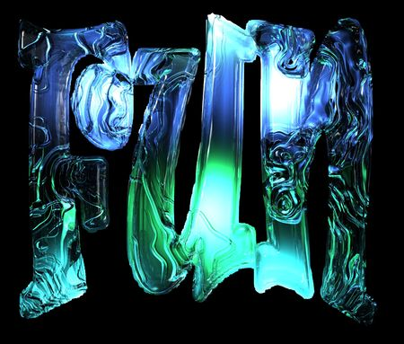 exciting: An illustration of the word Fun with an ice appearance and cool lighting.