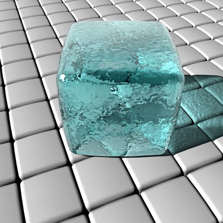 An illustration of a block of ice on a 3D grid.