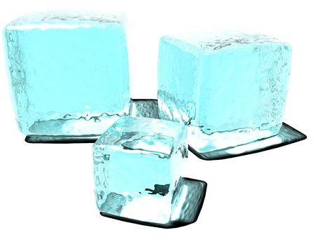 An illustration of blue ice cubes on a white surface and background with light shinny through them.