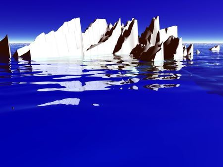 A 3D illustration of an ice berg floating on water.