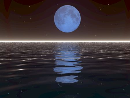 An illustration of a surreal moonset over water. Stok Fotoğraf - 2488878
