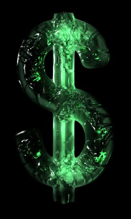 An illustration of an illuminated US dollar sign with a green icy appearance. Imagens - 2488745