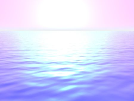 An illustration of the sun rising over water with a strong glare.
