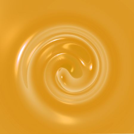 An illustration of orange fluid swirling.