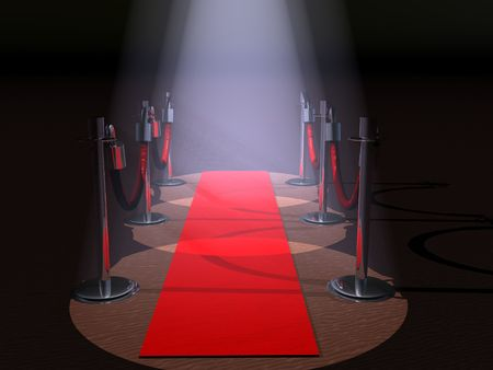 A red carpet with spot lights and rope barriers.