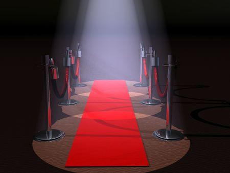 luz roja: Una alfombra roja con luces de terreno y obst�culos cuerda.