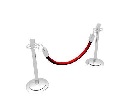 銀および赤いロープから成っている障壁の 3 D イラストレーション。