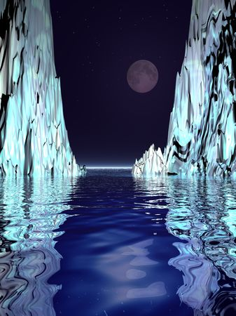 berg: A surrealistic scene of a moon rising over floating ice bergs.