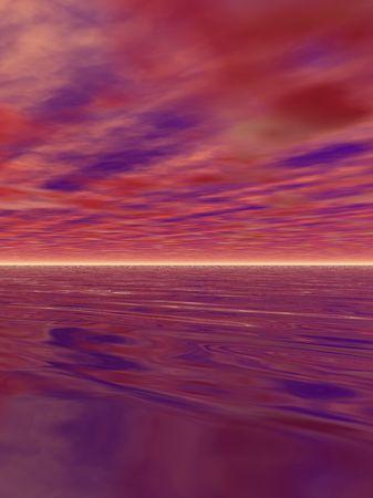 An illustration of a surreal, calm ocean. Stok Fotoğraf - 2488913
