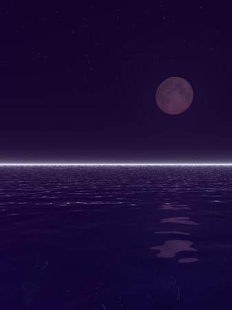 An illustration of a surreal moonset over water. Stok Fotoğraf