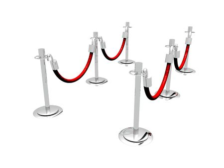 waiting in line: A 3D illustration of a waiting line composed of stanchion barriers.