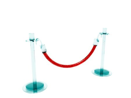 rope barrier: A 3D illustration of a barrier made of glass and a translucent rope.