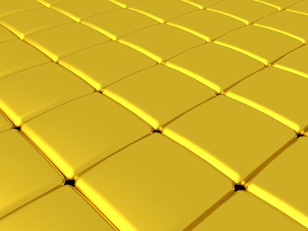 A 3D illustration of soft edged gold cubes forming a grid.
