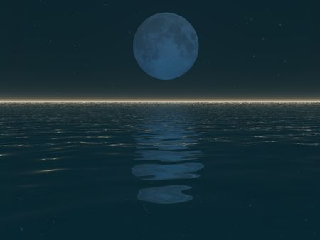 An illustration of a surreal moonset over water. Stock Photo