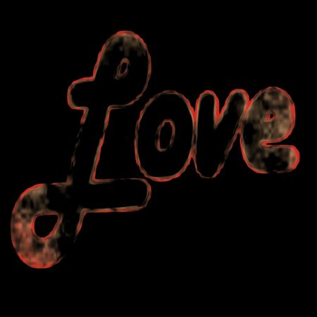 An illustration of the word Love isolated on black