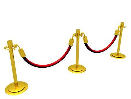 待ち行列の 3 D イラストレーション スタンチョン障壁から成る。