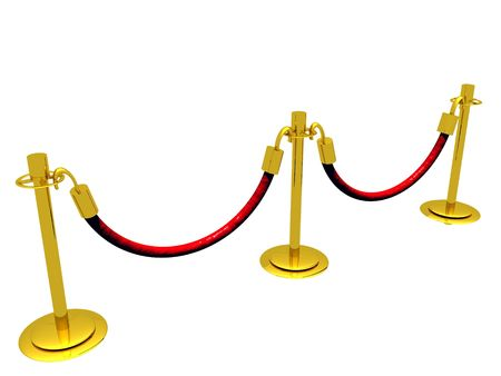 stanchion: A 3D illustration of a waiting line composed of stanchion barriers.