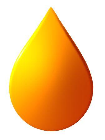 흰색으로 격리하는 오렌지 액체 드롭의 그림.
