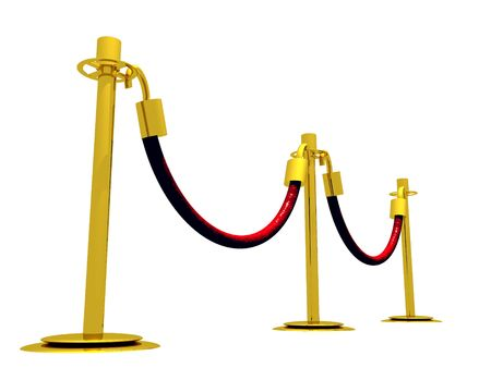 A 3D illustration of a waiting line composed of stanchion barriers.