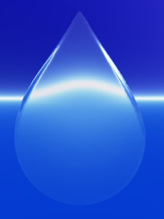 An illustration of a liquid drop distorting a blue background Stock fotó
