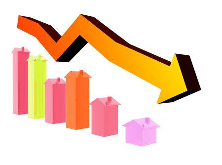 주택 시장 하락을 보여주는 그래프. 스톡 콘텐츠