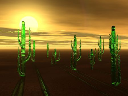 A desert sunset as viewed by a computer in a virtual world.